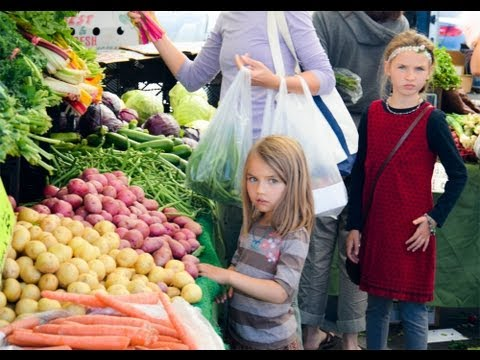 At the Farmer's Market Kids love fruits and vegetables