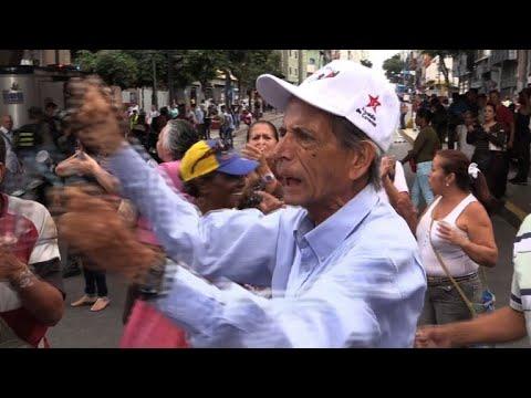 Senior citizens protest against crisis-hit pensions in Venezuela