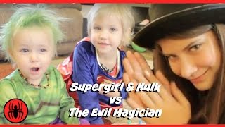 Baby Heroes Supergirl vs Hulk vs funny Magician in Real Life Fun Comic Video | SuperHero Kids