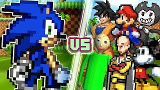 LEVEL UP: Sonic until he loses. (Sonic vs Mario, Baldi, Goku, Saitama, & More) Sonic Animation