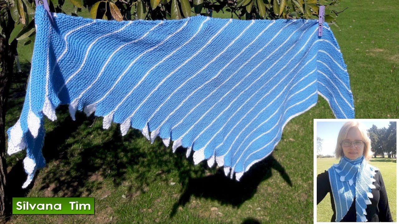 Tutorial Cómo tejer con dos agujas Chal con hojas (o chal cola de ...