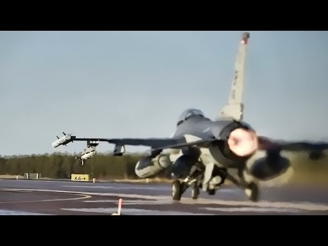 F-16 Fighter Jets Takeoff From Air Base In Sweden