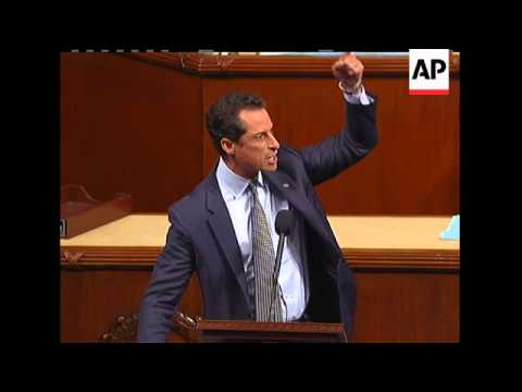 Congressman Anthony Weiner gave a fiery speech criticizing his Republican colleagues after the House