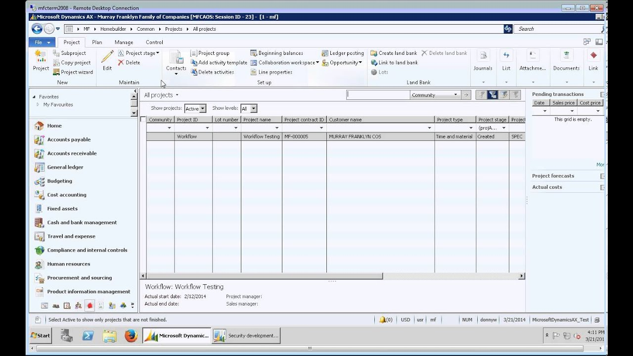Microsoft Dynamics AX 2012  Homebuilder One  Security