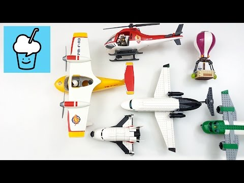 Learning Planes and  Air Vehicles for kids with lego playmobil