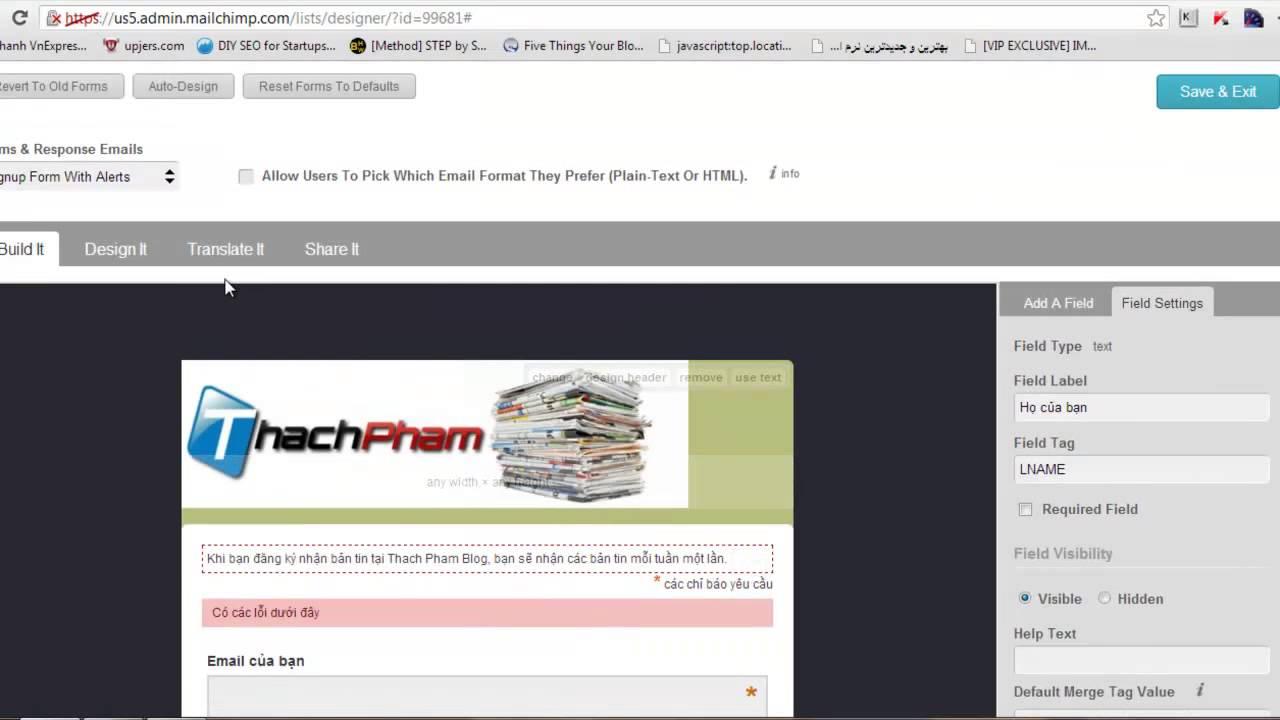 Hướng dẫn sử dụng Mailchimp cơ bản