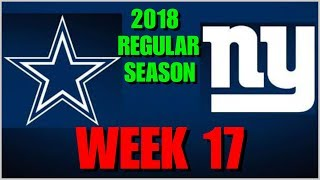 ☆**LIVE STREAM** Reaction ☆ 2018 WEEK 17/GAME 16: Dallas Cowboys @ New York Giants [+ Post Game RT]!