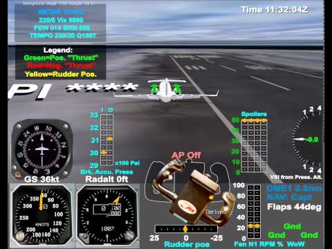 Animation of a Canadair CRJ runway excursion at Longyearbyen
