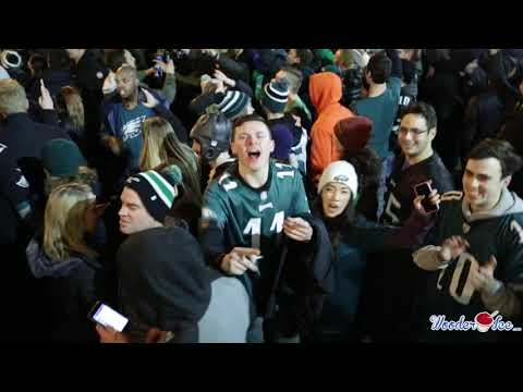 Eagles Fans Celebrating The Eagles Super Bowl Win in Philly on Broad St.!
