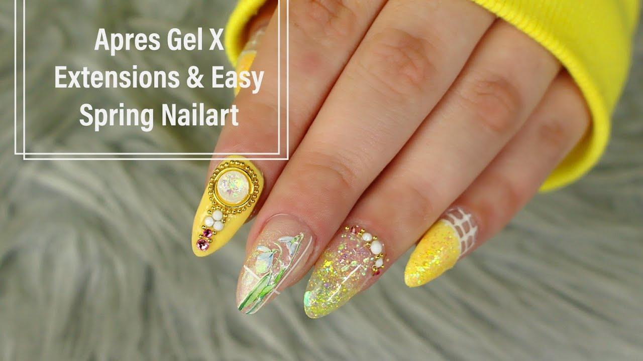 Après Gel X Extensions \u0026 Easy 3d Spring Nailart