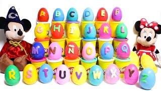 Play Doh Alphabet Surprise Eggs Play Doh ABC Learn the Alphabet Peppa Mickey Mouse Huevos Sorpresa
