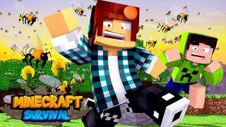 Minecraft Survival #02 - ABELHAS GIGANTES !!