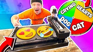 PANCAKE ART ROBOT CHALLENGE WITH MYSTERY WHEEL!