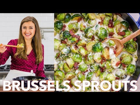 How To Cook Brussels Sprouts Recipe in Alfredo Sauce Natasha's Kitchen