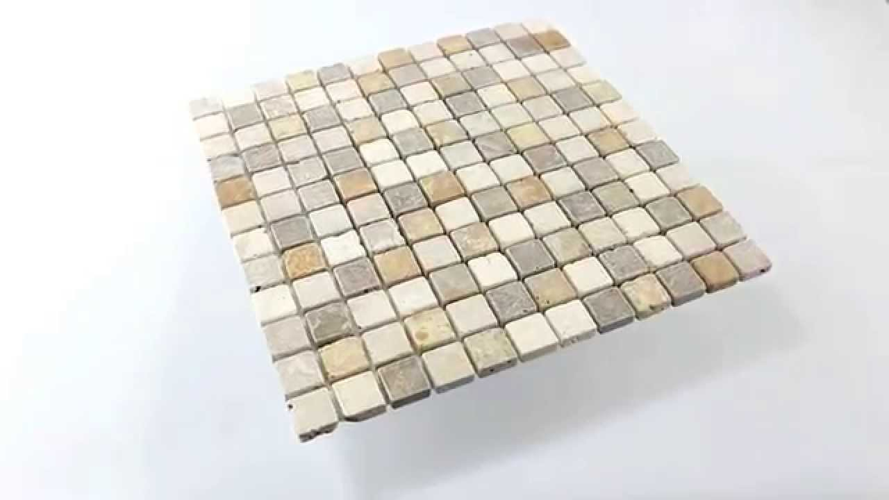 Travertin Naturstein Mosaik Fliesen Braun Beige Rot - YouTube