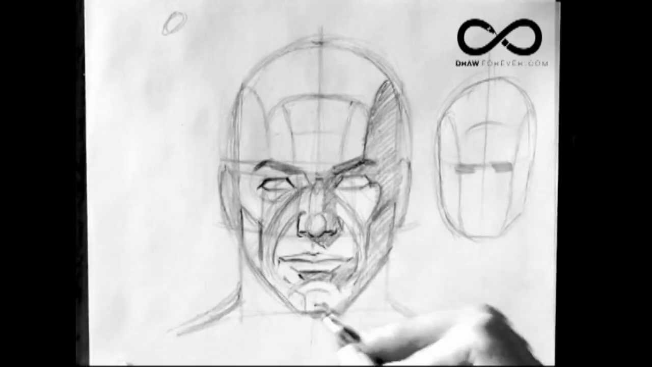 how to draw a head front view planes and shadows drawforever com