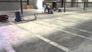 Shot Blasting Stripes in Sealed Warehouse Floor