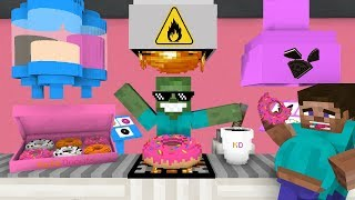 Monster School: WORK AT DONUT PLACE! - Minecraft Animation