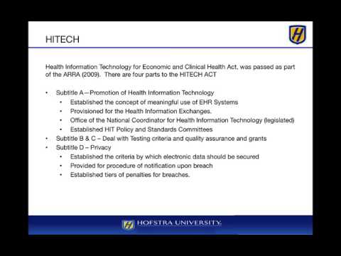 Module 7 – Govt Regulation – Health Information Tech