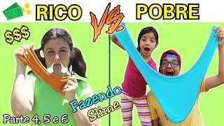 RICO VS POBRE FAZENDO SLIME / AMOEBA ( Parte 4, 5 e 6 ) SLIME GIGANTE !!