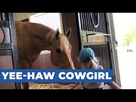Little Girl Loves Spending Time With Horses