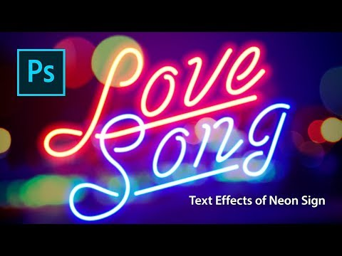 Photoshop Text Effect Tutorials of Neon Sign thumbnail
