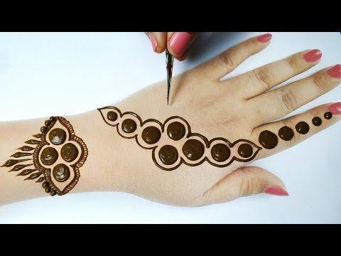 सूंदर गोल टिक्की मेहँदी डिज़ाइन लगाने का आसान तरीका - Easy Beautiful Mehndi Design Step by Step