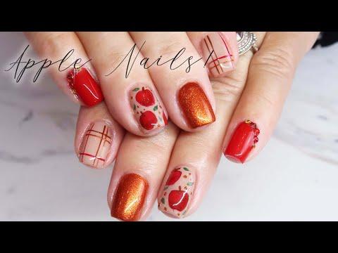 Watch Me Work! | Hand Painted Fall Plaid & Apple Nail Art Tutorial thumbnail