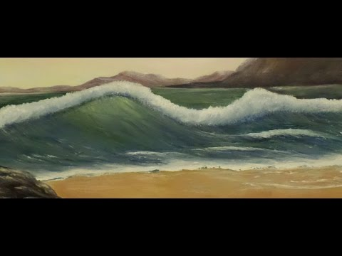 How to paint an ocean Wave  Lesson 5, Step by Step acrylic Painting easy techniques.
