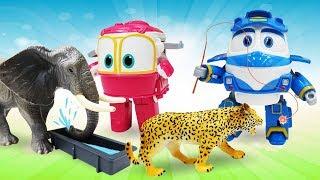 Машины сказки на ночь. Роботы поезда и животные в зоопарке. Видео с игрушками