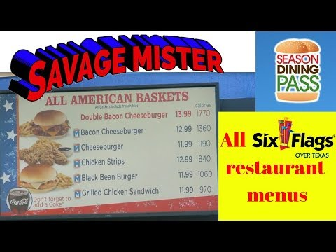 Six Flags over Texas all food location menus (SEE DESCRIPTION for