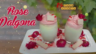 Rose Dalgona with just 3 ingredients| RoohAfza Milk | Perfect for iftar | Fs Food Studio