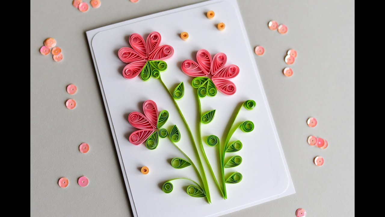 How to Make  Greeting Card Quilling Flowers  Step by