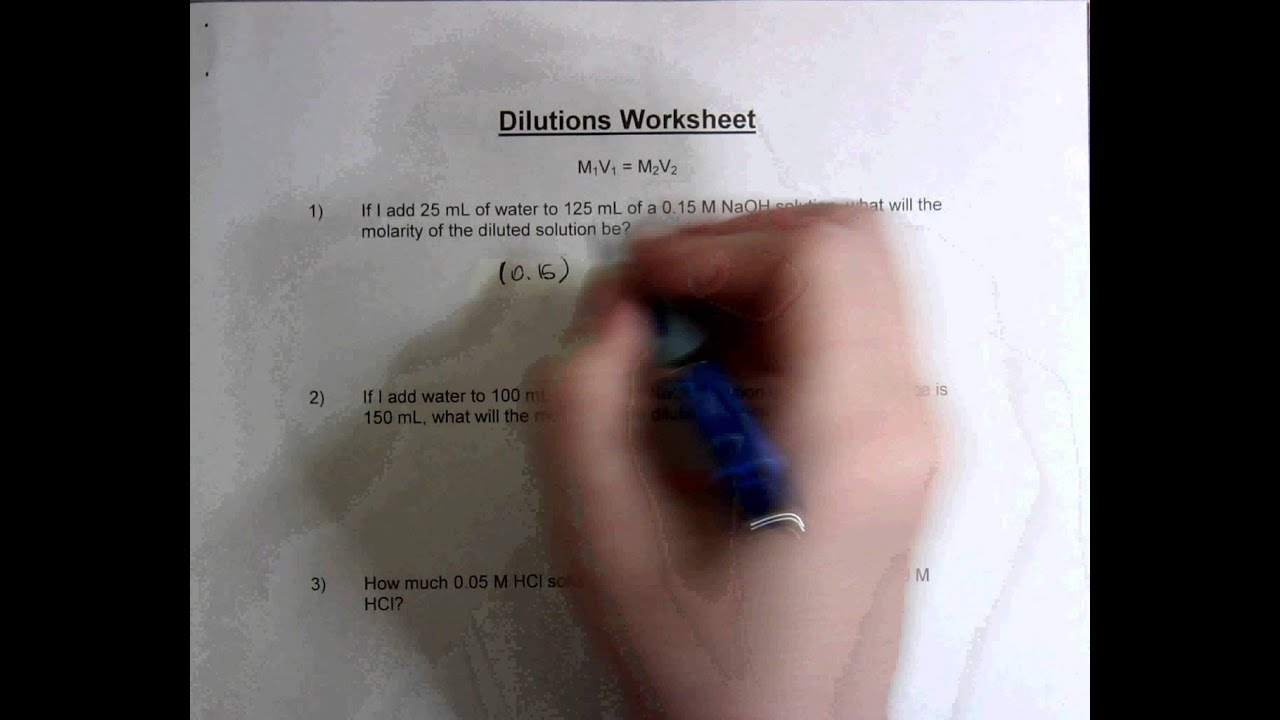 Dilutions Worksheet Youtube