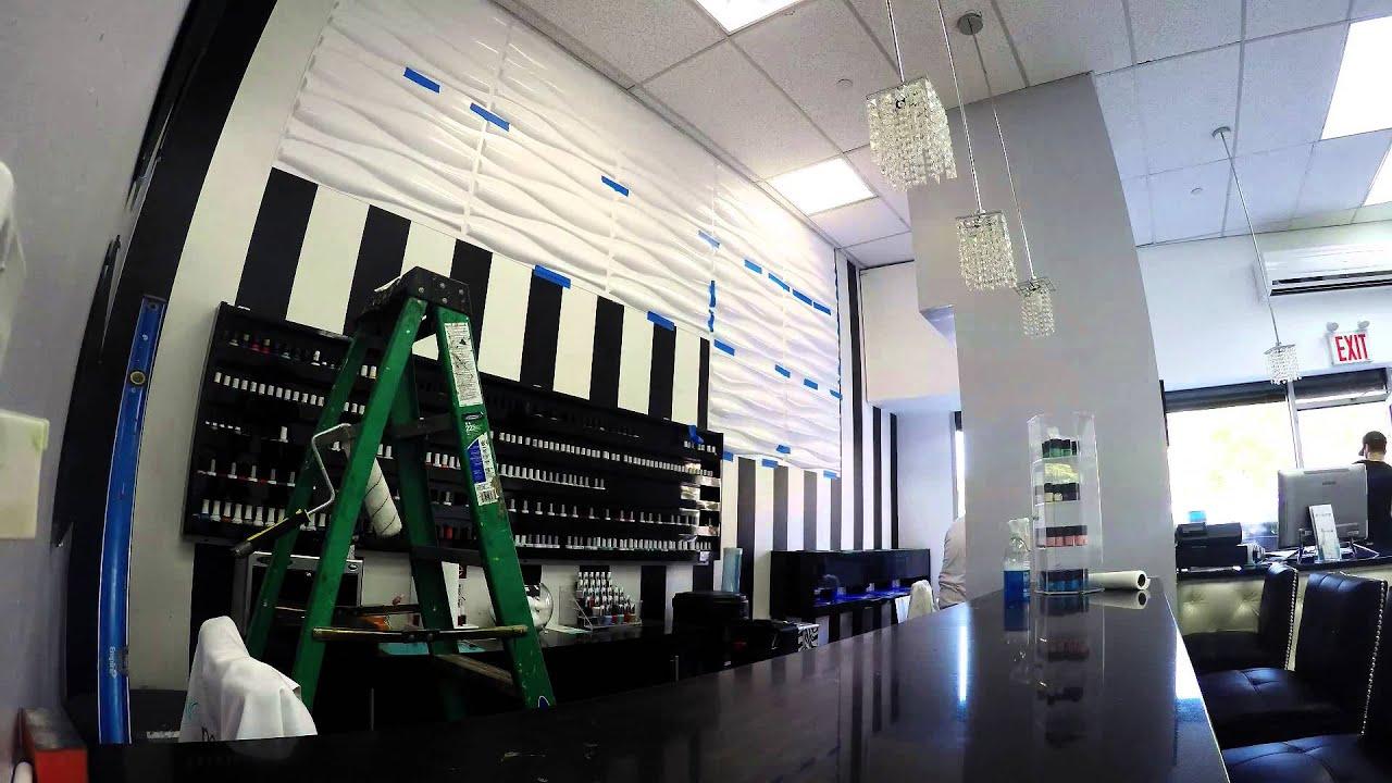 Installing 3D Decorative Wall Panels in Nail Lounge (New York, NY ...