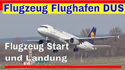 Flugzeuge Start und Landung auf Flughafen Düsseldorf