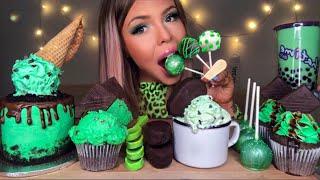 ASMR MINT CHOCOLATE CHIP ICE CREAM, SPOONS, TAPIOCA, ICE CREAM CAKE, BUBBLE TEA, CAKE POP MUKBANG 먹방