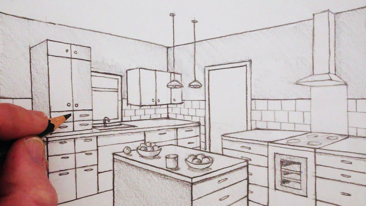 How To Draw A Kitchen Room In Two Point Perspective Time Lapse Youtube