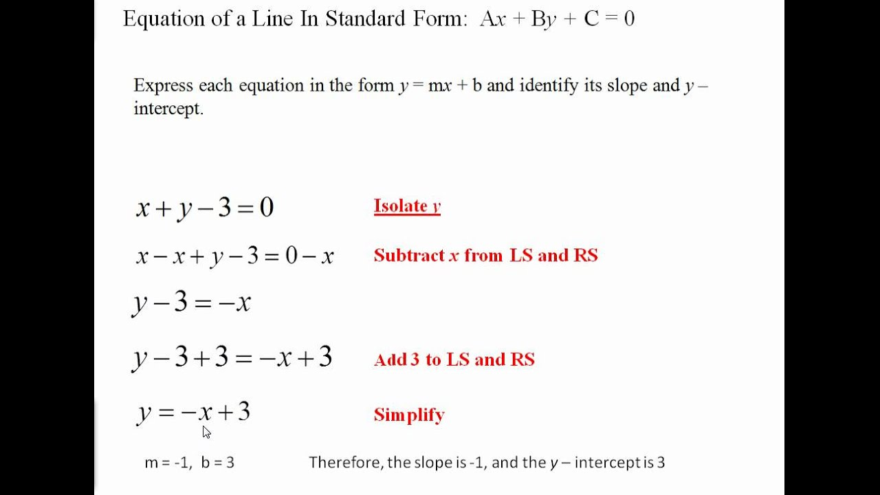 Standard Form of a Line: Ax + By + C = 0 - YouTube