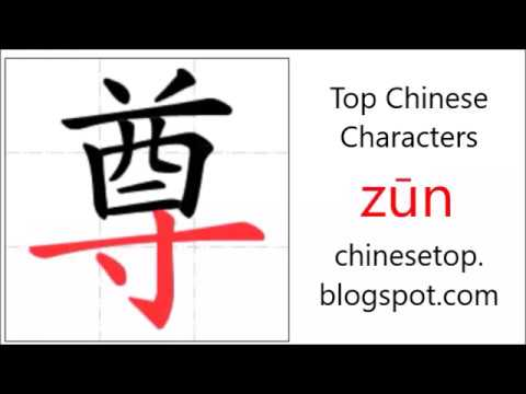 Chinese Character Zn Respect With Stroke Order And