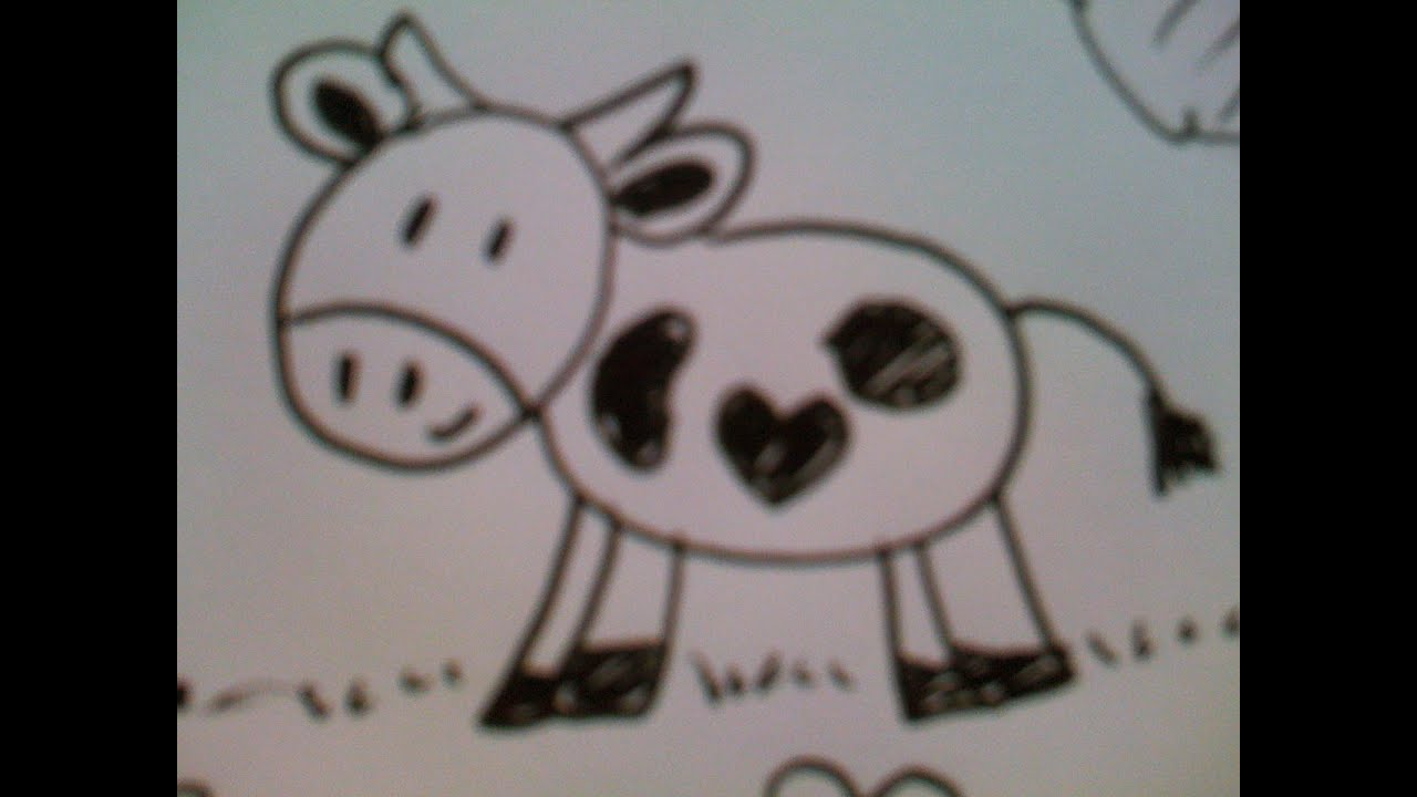 how to draw a cute little cow easy youtube