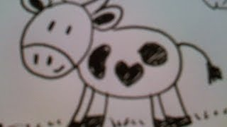 How to draw a cute little cow! Easy :)