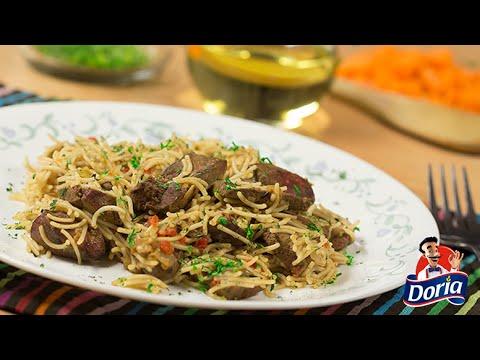 Bistec de hígado y arroz tigre con fideos Doria