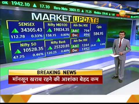 Market Update: Nifty crosses 10500 mark; Sensex gains 113 pts closed at 34305