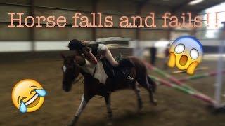Horse falls and fails