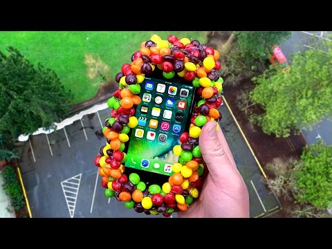 Thumbnail: Can 500 Skittles Protect an iPhone 7 from Extreme 100 FT Drop Test? - GizmoSlip