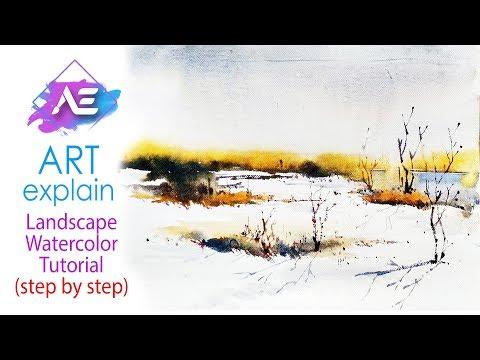 Transparent water watercolor landscape painting  | How to paint a watercolor landscape | Art Explain