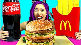 DIY Giant Big Mac Burger Combo w/ Giant McDonald's Fries and Giant Coke Cola!