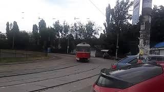 Трамвай на станции метро Бориспольская. Киев.2018.