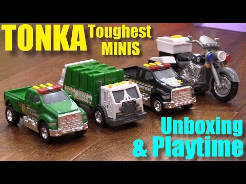 Toy Cars for Toddlers and Kids: TONKA Toughest Minis Police Truck, Motorcycle and Garbage Truck